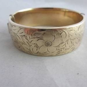 1928-ANTIQUE C1920 ART DECO 9CT METAL CORE GOLD WIDE BANGLE BRACELET 2 CM