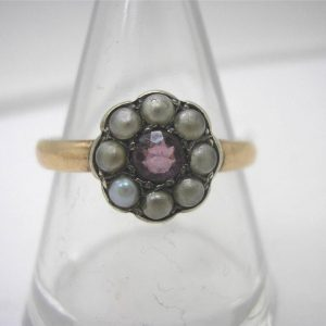1944-VICTORIAN MARKED 9CARAT ROSE GOLD CLUSTER RING