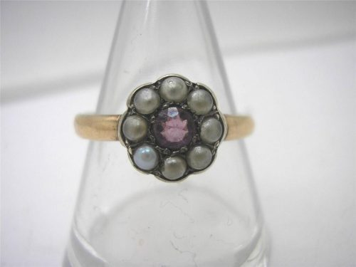 VICTORIAN MARKED 9CARAT ROSE GOLD CLUSTER RING -