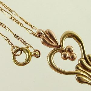 1966-UNUSUAL VINTAGE SOLID 9CT YELLOW & ROSE GOLD SWEETHEART PENDANT WITH CHAIN