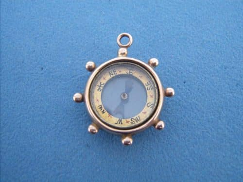 VICTORIAN 9CT GOLD NAUTICAL COMPASS FOB OR PENDANT -