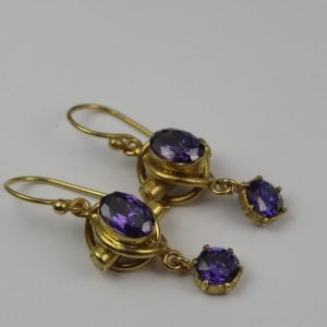 1974-9CT GOLD ANTIQUE AMETHYST EARRINGS