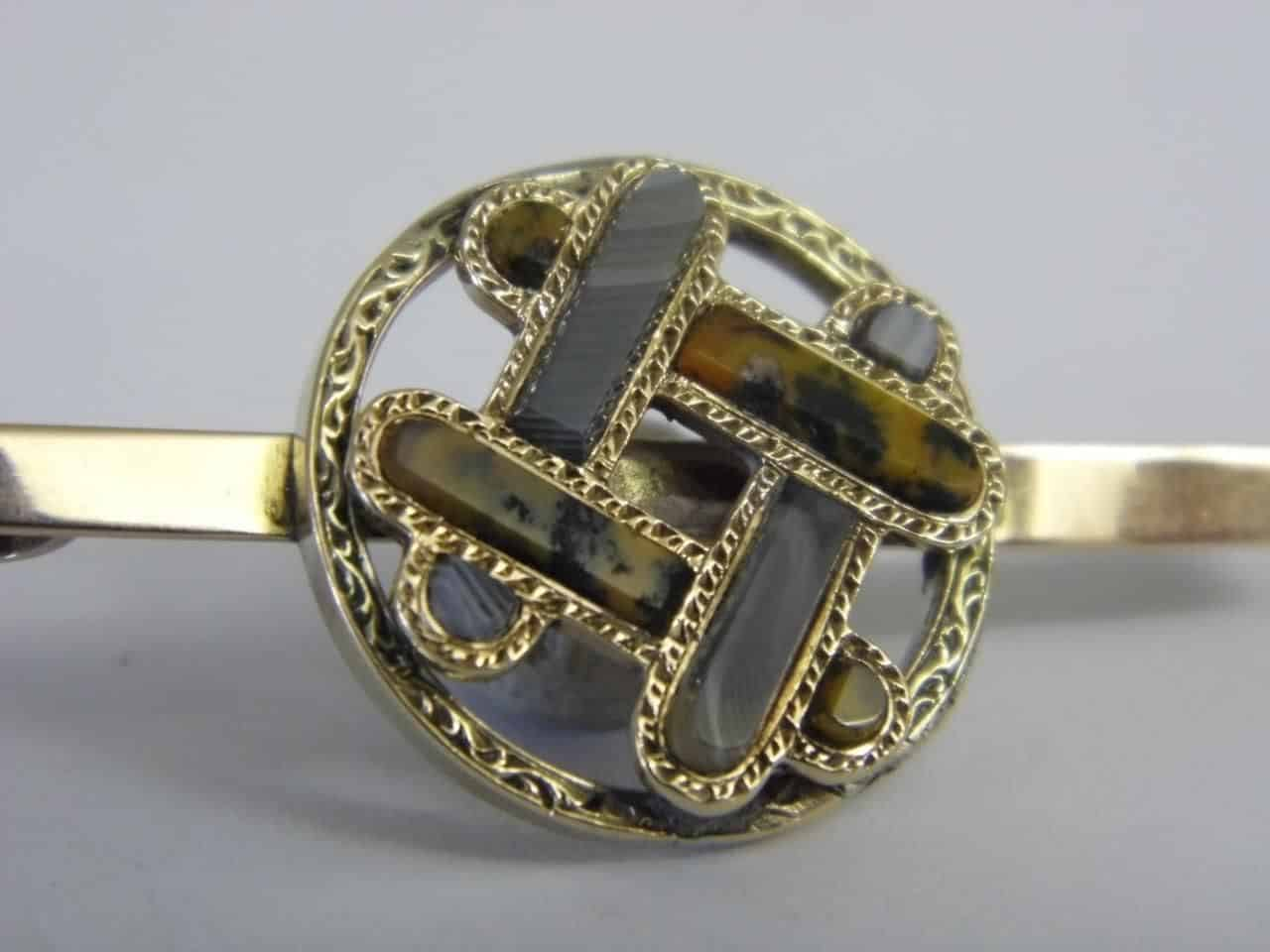 1992-A-SUPERB-EXQUISITE-ANTIQUE-9CT-GOLD-SCOTTISH-AGATE-PIN-BROOCH