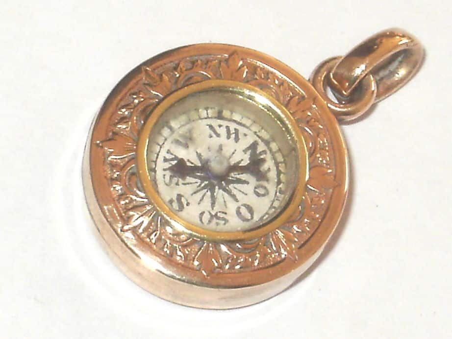 2032-ANTIQUE-9CT-ROSE-ROLLED-GOLD-COMPASS-FOB-FOR-POCKET-WATCH-ALBERT-CHAIN
